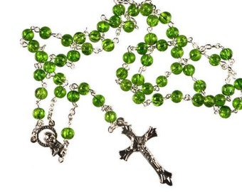 Green Glass Bead Rosary Beads. Hand made Rosary Beads. Irish Emerald Green Rosary Beads. Strong Rosary Beads.