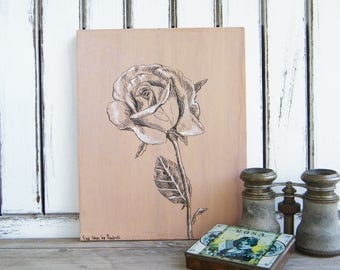 Rose print, Botanical art, Rustic wall decor, Print on wood, Illustration art, Hipster room decor, Gift for her, Nature print, Rustic sign