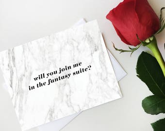 Will You Join Me in the Fanatsy Suite Notecard, Marble Fantasy Suite Card, Bachelor Postcard, Digital Download, Printable Notecard