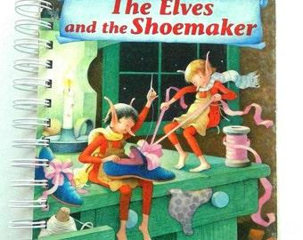 De Elfen en de schoenmaker, storybook tijdschrift, boek draaide dagboek, dagboek, upcycled, dagboek voorzien, notebook, dagboek, geheugen boek