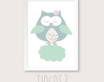 Owl nursery art owl Nursery Decor owl kids art baby decor green nursery print, owl baby printable, nursery poster.