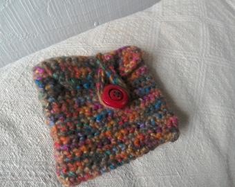 multi-coloured, crochet coin purse / pouch