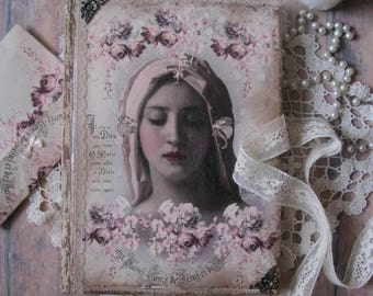 Virgin Mary, diary, journal, memory book, vintage diary, vintage journal, shabby chic diary, tagebuch, Virgin Mother, Our Mary, Mother Mary