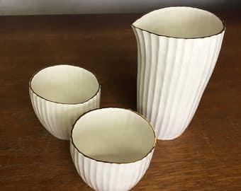 Stripe sake set (2cups & 1jug)