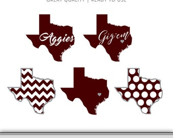 Texas A&M Graphic Pack - Aggies - Texas Graphic - Digital Download - SVG File - DXF File - EPS File - Cut Files - 7 Formats Ready to Use!