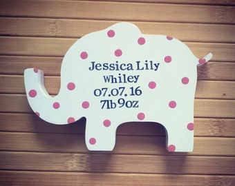 Personalised pink new baby elephant