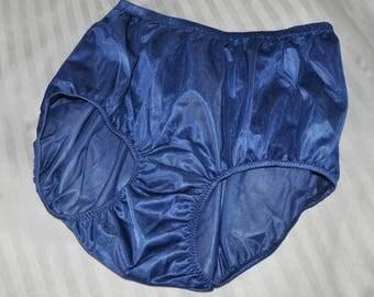 Silky nylon panties, deep blue,  Sissy Lingerie