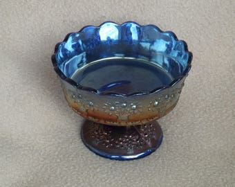 Carnival Glass; Vintage Glass Dessert Dish; Blue Carnival Glass Compote; Candy Dish