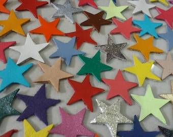 Leather Stars, 15mm. 20mm. & 25 mm. wide, Mixed Colors, Leather Stars Die Cut, Stars Decoration, for DIY Projects.