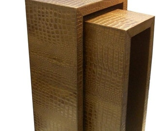 Leather nesting tables, faux crocodile leather,  leather tables, furniture.