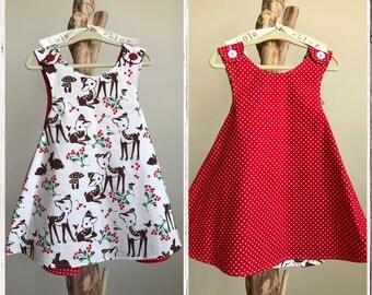 OH DEER dress- Retro REVERSIBLE toddler pinafore- 12-24 months