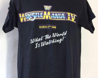 Vtg 1988 WWF Wrestlemania IV T-Shirt Black M/L 80s Pro Wrestling Wrestle Mania