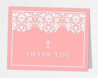Communion Thank You Card, Photo Communion Thank You, Printable Communion Thank You, Folded Cards, Printed, Damask, Lace, Pink, Floral, Maura