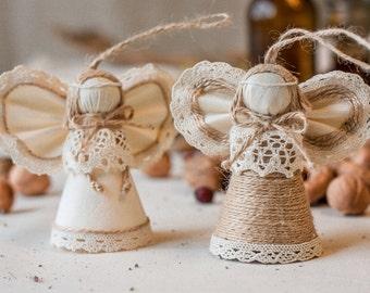 Angel Christmas Ornaments, Christmas Decor, Rustic Home Decor, Ecofriendly Gift, Wedding Decor, Anniversary Gift for a Couple