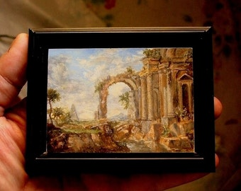 Miniature Landscape Painting, ACEO Masterpiece, ACEO Original, Classical Painting, Oil Painting, David Smith Landscape Painting