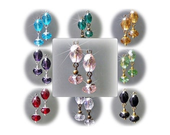 Earrings petite drop crystal, choose color, findings and clip on or pierced fittings