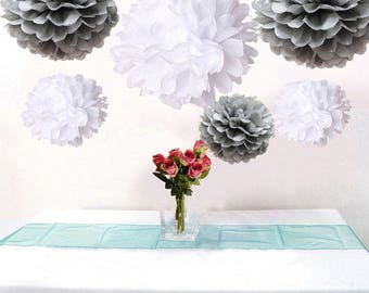 12pcs Mixed Grey White Paper Pom Poms Flower Wedding Garland Birtday Bridal Shower Nursery Hanging Party Decoration
