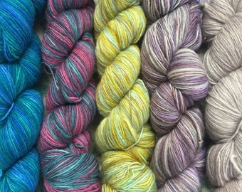 Malbrigo Lace 9.99 +1.25ea to Ship 470 Yds 100% Baby Merino Lace + Patterns - 537 Blues, 237 Teal & Pink, 125 Lime, 629 Purple, 036 Pearl