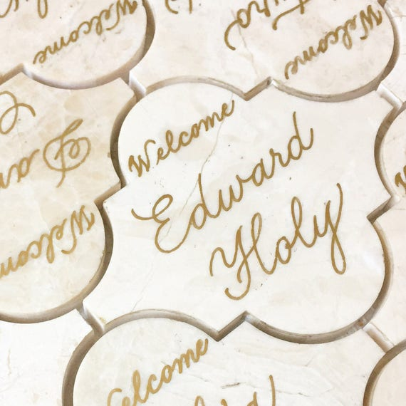 THE LOVE SCRIPT | Tile Place Cards | Flourished Escort Cards with Calligraphy | Gold Place Cards | Wedding Place Card Calligraphy