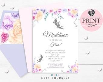 FAIRY INVITATION, Instant download FAIRY Invitations, Fairy Silhouette Party Invitation, Fairy Party, Fairy Invitations, Floral Fairy