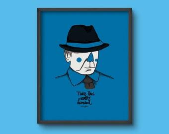 De la colección 'Refherències' Leonard Cohen. Retrato. impresión digital. Ilustración para decorar tu casa. Dibujo. Fan art