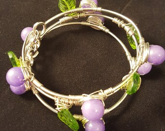 Lilac & Leaf Bangle Set - Bangle - Purple Bangle - Green Bangle - Leaf - Leaves - Purple Bracelet - Spring Bracelet - Bangle - Bangle Set