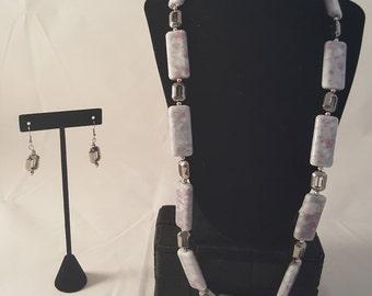 White & Pink Stone Jewelry Set - White Stone Necklace - Pink Stone Necklace - Stone Necklace - Silver Earrings - Silver Necklace - Stone Set