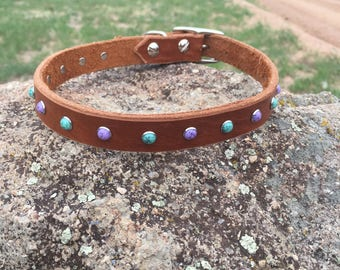 Stone Stud Leather Dog Collar