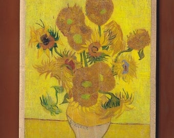 Sunflowers (F458), repetition of the 4th version (yellow background),Van Gogh Museum, Amsterdam, Netherlands.FREE SHIPPING