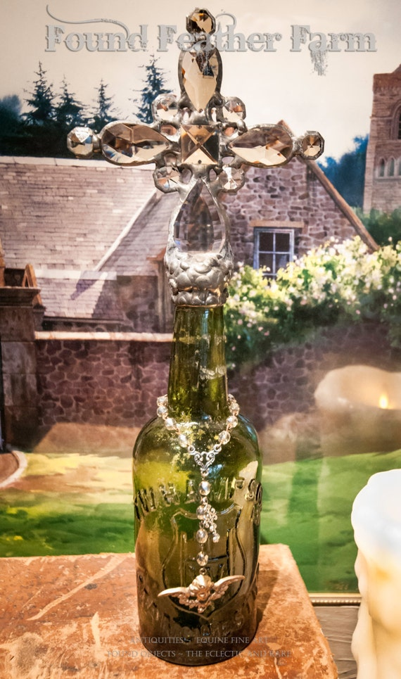 Handmade Glass Cross Bottle with an 1800's Era Antique Glass Bottle Base ~ The Cotswold Collection