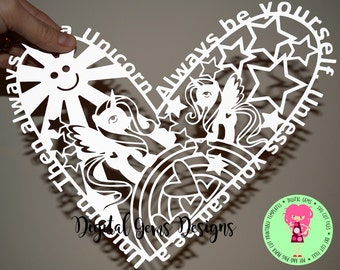 Unicorn Papercut Template SVG / DXF Cutting File for Cricut / Silhouette Cameo and PDF Printable For Hand Cutting. Digital Download