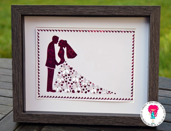 3d Wedding Paper Cut Template Svg Dxf Cutting File For