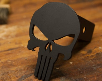 Stainless Steel Punisher Trailer Hitch Cover - Blacked Out