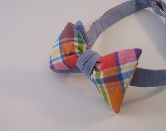 Reversible Madras Plaid and Blue Cotton Bow Tie