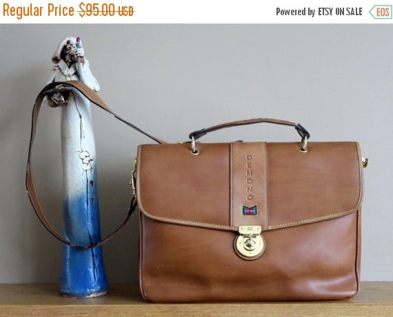 Football Days Sale Vintage Demono Tan Leather Dual Flap And Gusset Letter Size Briefcase - Made In Italy- EUC