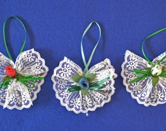 Handmade Lace And Flower Christmas Ornaments, Lace Christmas Ornament