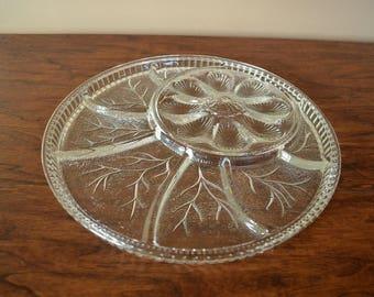 Vintage Snack Tray With Deviled Egg Section, Large Divided Snack Platter