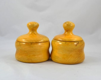 Handmade Wooden Bowls With Handled Lids, Hand Turned Wooden Container