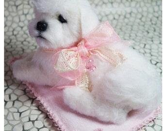 Bichon Frise Puppy/Puppy/ Bichon frise ornament /Bichon Frise/Bichon art/OOAK/Realistic animal/Felted dog