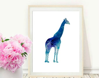 Blue Giraffe Print, Printable Wall Art, Giraffe Wall Art, Digital Art, Modern Wall Art, Instant  Download, Home And Living, Wall Decor
