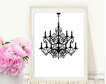 Chandelier Print, Printable Art, Chandelier Printable, Wall decor, Vintage chandelier, Modern Wall Art,  digital  Download, Home  decor
