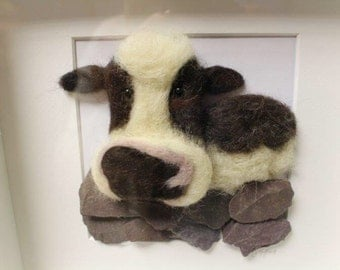 Felted Farm Cow Picture