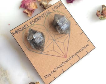 Smoky Quartz Earrings. Raw Terminated Smoky Quartz Earring Studs. Boho jewelry. Boho fashion. Gemstone jewelry.