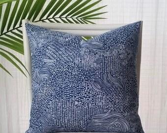 Robert Allen Sketchwork Global Ethnic Modern Pillow Cover - blue, navy, indigo, white, warm white