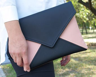 Black and Pink Bridesmaid Clutch Vegan Leather Clutch Bag Gift for Her Evening Clutch Purse Wedding Clutch Vegan Bag Clutch Handbags  Wallet