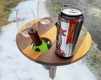 2-bottle, 4 stemless Glasses, folding Portable Wine Table