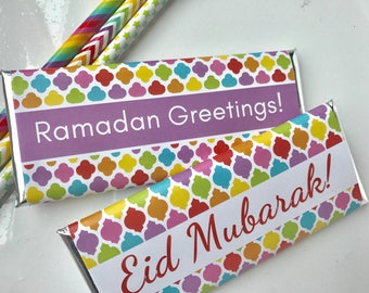 Eid gift for kids, Ramadan decorations, Moroccan paper, personalized candy, Islamic gifts, Moroccan tiles, Eid decoration, Eid party, 24 ct.