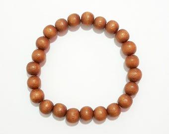 Mens Wooden Bracelet, Mens Beaded Bracelet, Wood Bead Bracelet, Wood Beads, Minimalist Bracelet, Wooden Bead Bracelet, Brown Beaded Bracelet