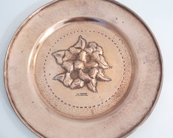 vintage large french copper plate, wall hanging copper plaque
