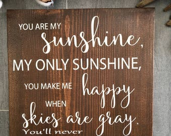 You are my sunshine wall art - Home Decor - Wood Signs - Painted Wood Signs